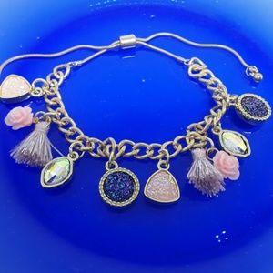 Boho Pink & Gold Druzy Adjustable Charm Bracelet